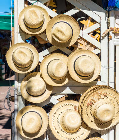 Varadero, Cuba. January 2018. A typical view of tourist souvenirs for sale in a street market in Varadero in Cuba