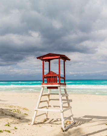 Varadero, Cuba. January 2018. A typical view of a beach lifeguard hut on varadero beach in Varadero in Cuba