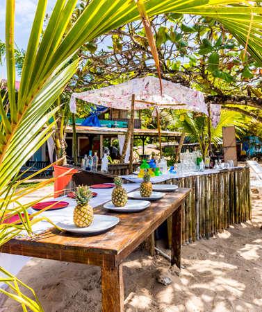 Colon Island, Bocas del Toro, Panama. An outdoor beach bar on Colon Island in Bocas Del Toro, Panama. Stock Photo
