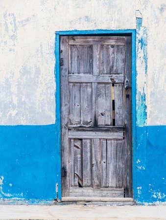 traditional house facade on Isla caledonia in San Blas Islands.