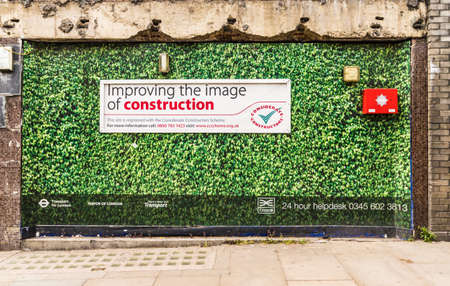 London. June 2018. A view of construction hoarding for the crossrail site at farringdon station in Smithfield in London Redakční