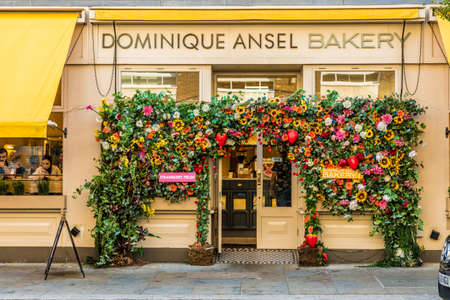 London. August 2018. A view in of the Dominique Ansel bakery in Belgravia in London Editorial