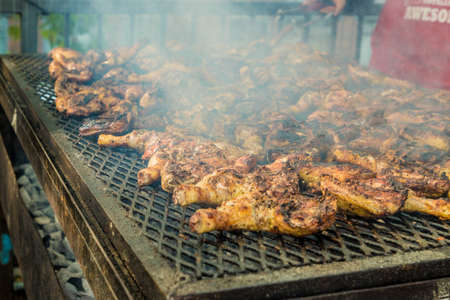 Notting Hill carnival, London. August 27 2018. A view of some of the street food at Notting Hill Carnival in London