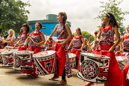 Notting Hill carnival, London. August 27 2018. A view of some of the groups of drummers at Notting Hill Carnival in London