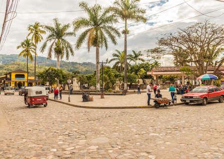 Copan Town, Copan, Honduras. February 2018. A view in the main square in Copan Town in Honduras Editorial