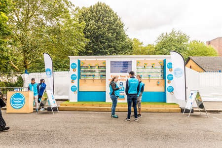 Notting Hilll London. August 2018. A view of a Thames Water free water stall during carnival in Notting Hill in London