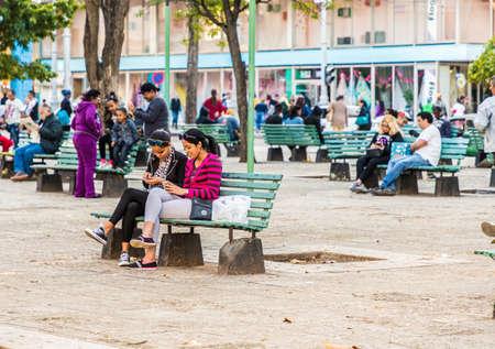 Havana Cuba. january 2018. A typical view of a wifi hot spot in a park in Havana in Cuba Editorial