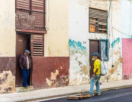 Havana Cuba. january 2018. A typical street view in Havana in Cuba