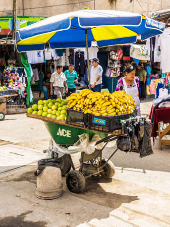 San Salvador. February 2018. A typical view of a fruit stall in San Salvador in El Salvador Editorial