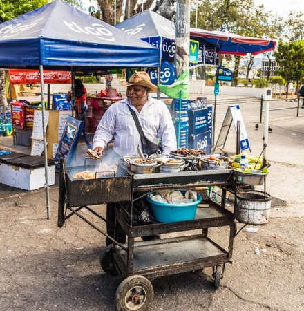 San Salvador. February 2018. A bbq stall in San Salvador in El Salvador