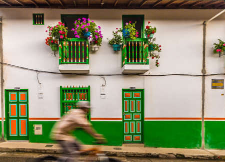 Jardin, Colombia. March 2018. A view of colourful colonial architecture in jardin in Colombia