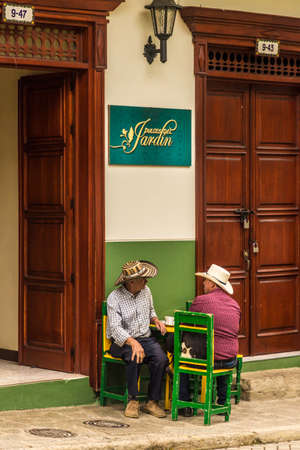 Jardin Colombia. April 2018. A view of local men in a cafe in jardin in Colombia