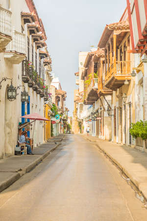 Cartagena Colombia. March 2018. A view of local street in Cartagena in Colombia