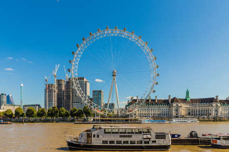 London. September 2018. A view of The London Eye in Westminster London Editorial