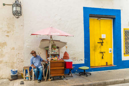 Cartagena Colombia. March 2018. A view of a local market stall in Cartagena in Colombia Editorial