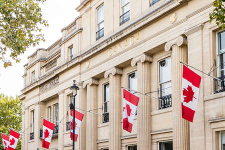 London. september 2018. A view of Canadian flags outside the canadian Embassy in london Editorial