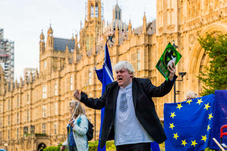London. September 2018. A view of a Boris Johnson look a like protesting about Brexit in London