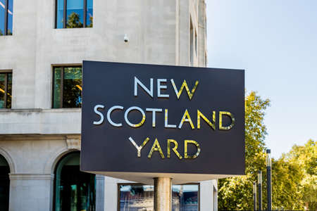 London. October 2018. A view of the a sign outside New Scotland Yard in London Editorial