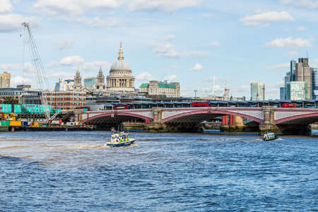 London October 2018. A view of the City skyline over the River thames in London Redakční