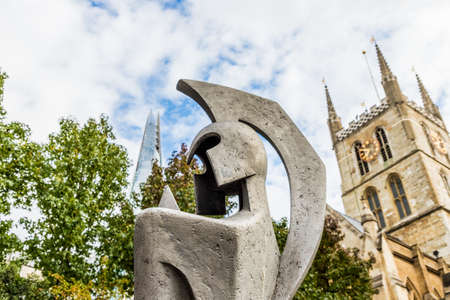 London October 2018. A view of the shard, a statue and Southwark cathedral in London