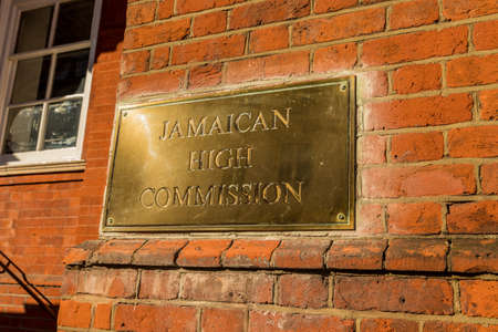 London. 2018. A view of the sign outside the jamaican high commisssion in London Editorial