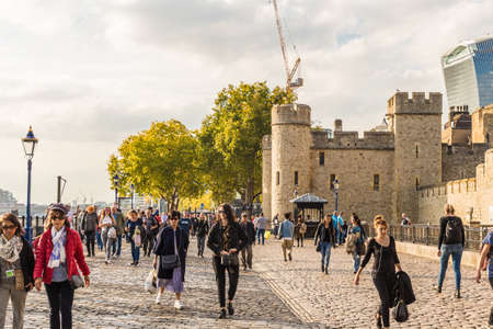 London. October 2018. A view of a street scene by the Tower of london in London