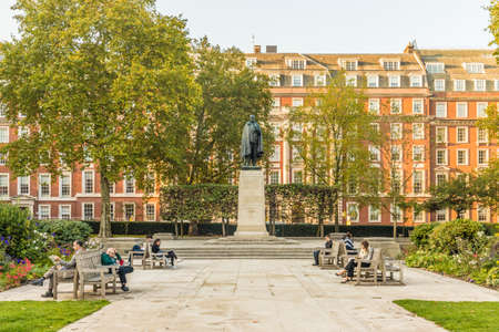 London October 2018. A view of the Roosevelt statue in Grosvsnor Square in London.