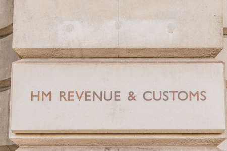 London October 2018. A view of a sign for HM Revenue and Customs outside its building in London Editorial