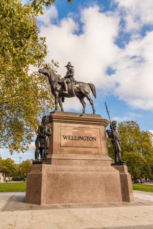 London October 2018. A view of a statue of the Duke of Wellington in London Editorial