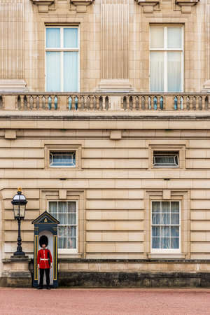 London. November 2018. A view of the Queens guards at Buckingham Palace in London.