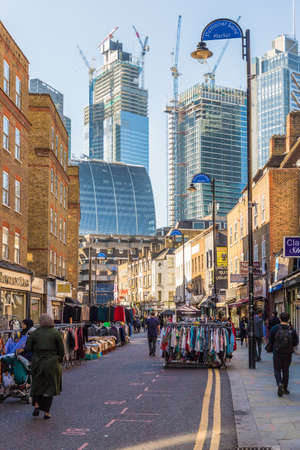 London. November 2018. A view of petticoat lane maret in London