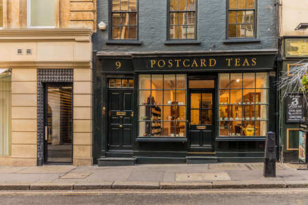 London. November 2018. A view of the Postcard Teas shop in Mayfair in London