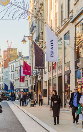 London. November 2018. A view of Old Bond Street in Mayfair in London