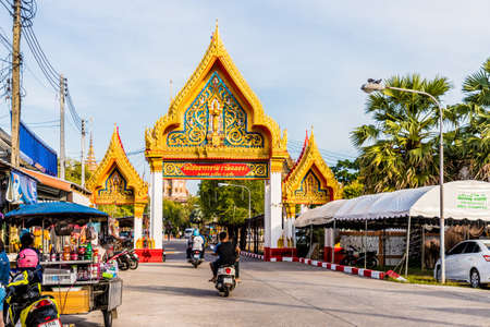 January 2019. Chalong Thailand. The entrance to Chalong temple in Phuket Editorial