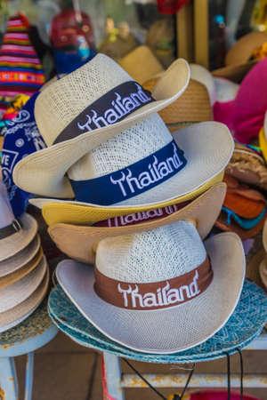 January 2019. Karon Phuket. Souvenir hats for sale in Karon Phuket Thailand