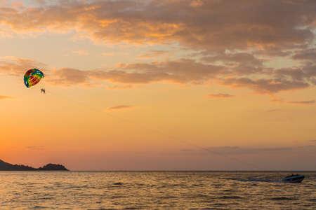 February 2019. Patong Thailand. Parasailing at Patong beach in Patong Thailand