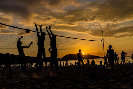 February 2019. Patong Thailand. Volleyball at sunset on Patong beach in Patong Thailand
