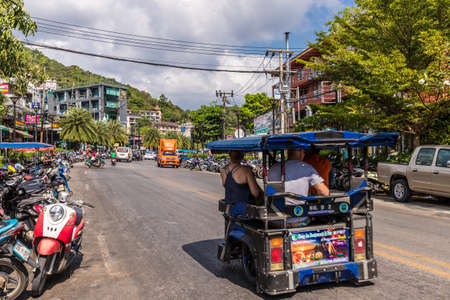January 2019. A typical street scene in Ao Nang in Thailand