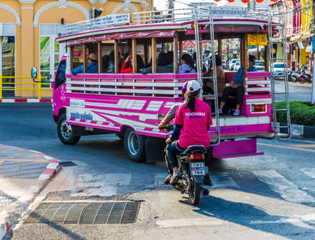 January 2019. Phuket Town Thaialnd. A view of local transportation in Phuket Town Thailand Redactioneel