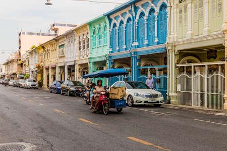 January 2019. Phuket Town Thailand. Colorful architecture in Phuket Town in Thailand