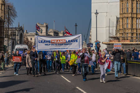 Friday March 29 2019. London. Uk. A scene at he march to leave the EU by Brexit supporters at parliament Square in Westminster.