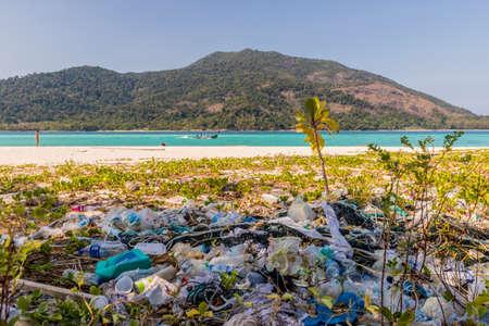 February 2019. Ko Lipe Tarutao National Marine Park Thailand. A view of plastic waste in Ko Lipe Tarutao National Marine Park Thailand
