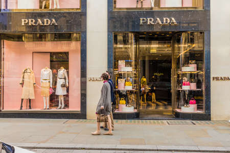 April 2019. London. A view of the Prada store on Bond street in london