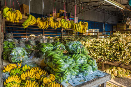 A banana stall at the 24 hour local fruit market in old Phuket Town Stock Photo
