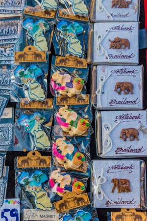 January 2019. Phuket Town Thailand. A View of Thai souvenirs for sale at the Sunday walking street market in Phuket Old Town