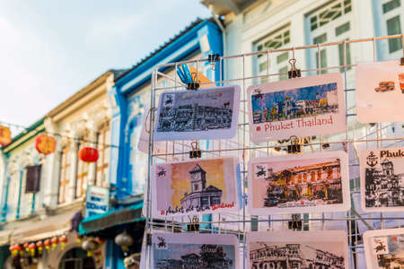 January 2019. Phuket Town Thailand. A View of postcards for sale at the Sunday walking street market in Phuket Old Town Editorial