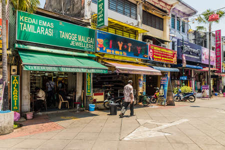 George Town Penang Malaysia. March 6 2019. A street scene in Little India in George Town Malaysia