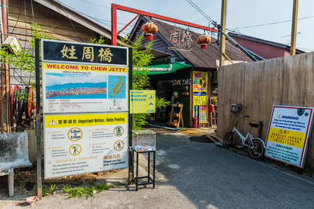 George Town Penang Island Malaysia. March 2019. A view of the clan jettys in George town in Malaysia Editorial