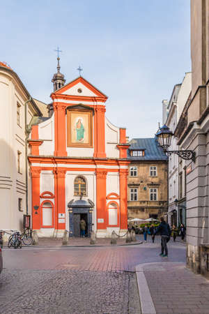 Krakow Poland. April 2019. A view of St Johns church in the medieval old Town in Krakow