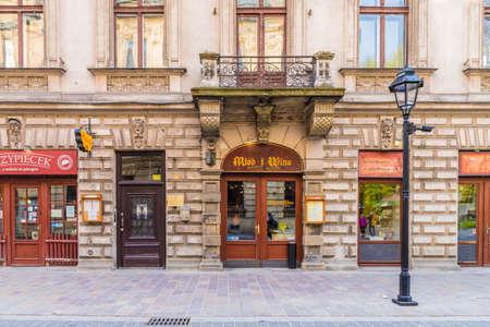 Krakow Poland. April 2019. A street scene in the medieval old Town in Krakow Editorial